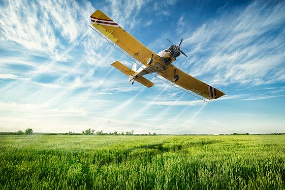 Yellow plane flying over green field
