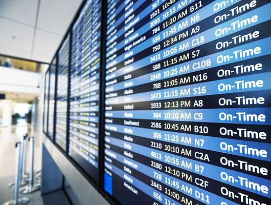 Airline schedule on tv screens