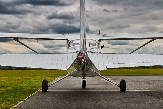Small airplane on runway