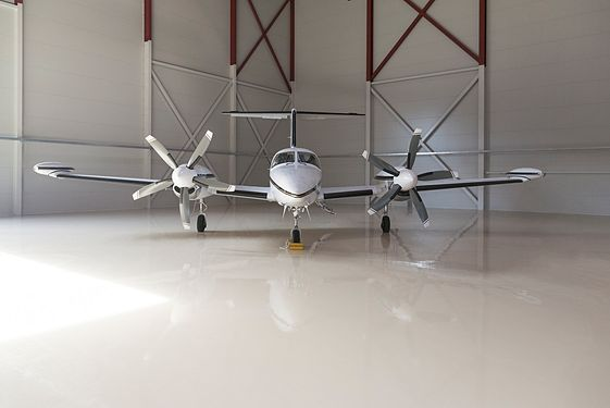 Small airplane in garage