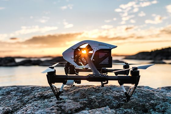 Close up of drone with mountains in background