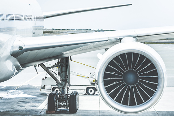Plane wheels and jets close up