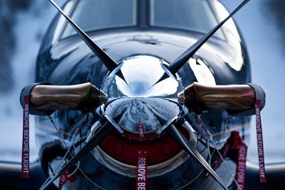 Closeup of airplane nose